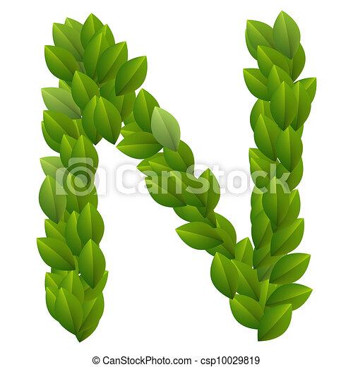 Alfabeto, hojas, verde, carta n. Hecho, alfabeto, leaves., n, verde ...