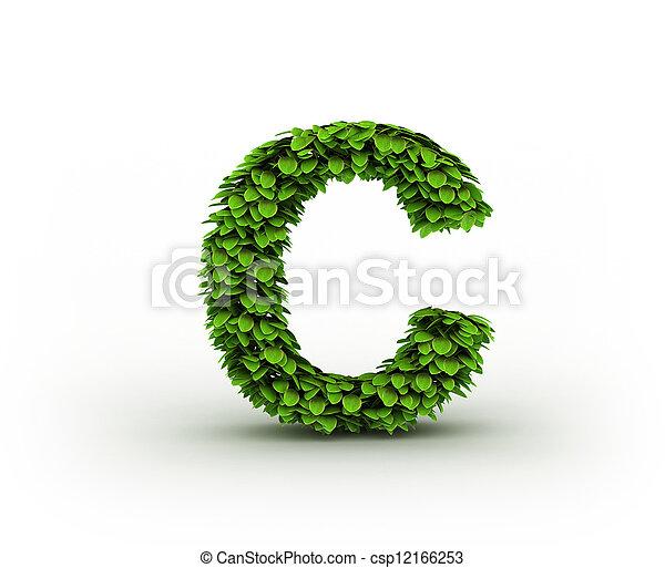 Alfabeto, hojas, verde, letra c. Minúscula, c, alfabeto, hojas ...