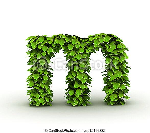 Alfabeto, hojas, verde, letra m. Minúscula, alfabeto, hojas, aislado ...