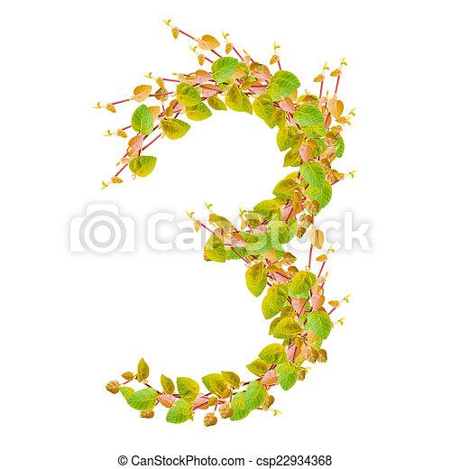 Alfabeto, hojas, verde, número 3 ilustración de archivo - Buscar ...