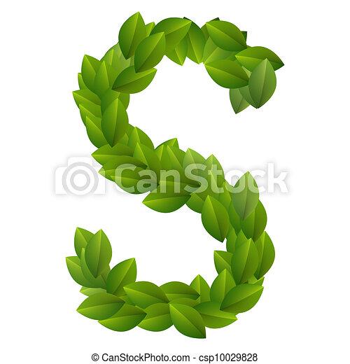 Alfabeto, hojas, verde, s, carta. Hecho, alfabeto, leaves., s, verde ...