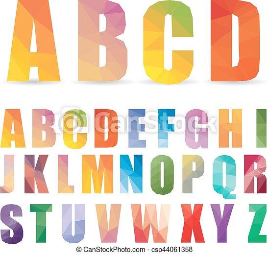 alfabeto multicolor inglés al estilo poligonal. Ilustración de vectores - csp44061358