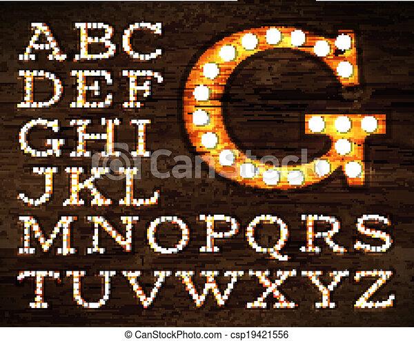 alfabeto, lámpara, estilo viejo - csp19421556