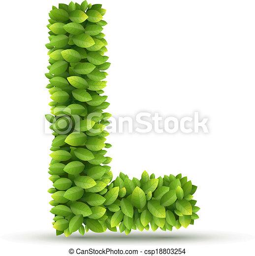 Alfabeto, l, vector, verde, carta, hojas. Plano de fondo, alfabeto ...