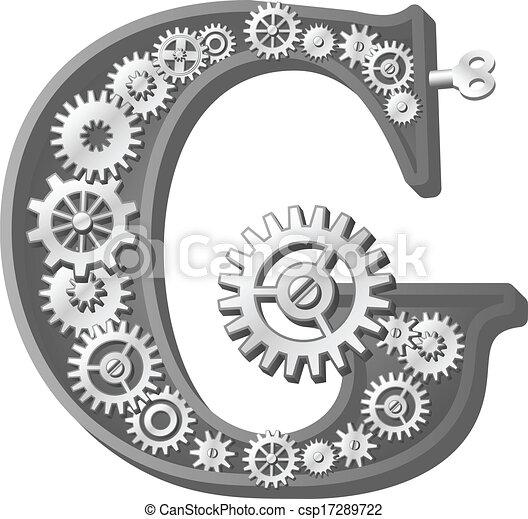 alfabeto, mecánico - csp17289722