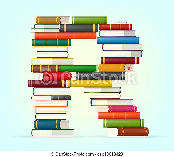 Alfabeto de pilas de libros multicolores - csp18618423