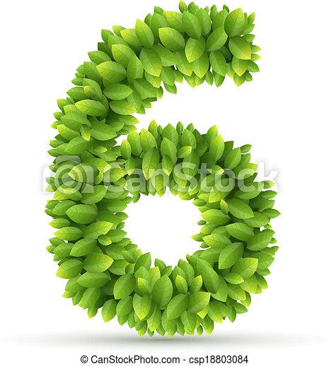 Alfabeto, número, vector, hojas verdes. Alfabeto, hojas, 6 ...