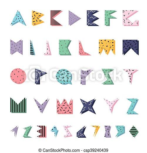 El alfabeto abstracto colorido al estilo de Memphis. - csp39240439