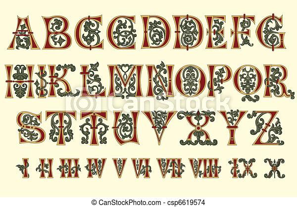 alfabeto, romana, medieval, numeral - csp6619574