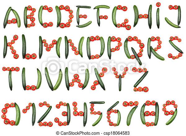alfabeto, tomates, pepinos - csp18064583