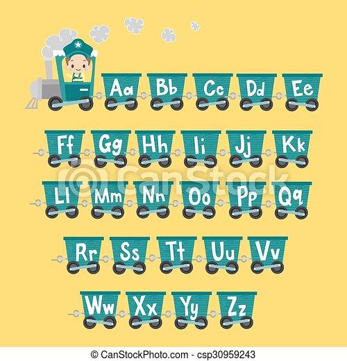 Un tren de niños con alfabeto - csp30959243