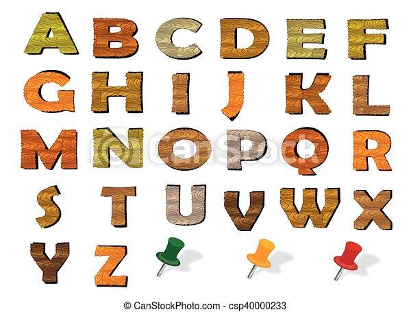 Vector de madera alfabeto inglés - csp40000233