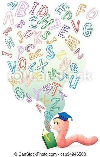 alfabetos, livro, bookworm, inglês - csp34946508