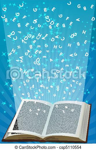 alfabetos, voando, livro aberto - csp5110554