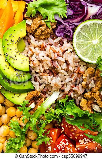 alface, prato, tomate, topo, tigela, pepino, buddha, vermelho, marrom, alimento., arroz, super, abacate, salada, pimenta, saudável, vegetariano, grão-de-bico, comer, repolho, fresco, walnuts., vista - csp55099947