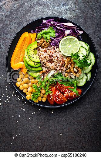 alface, prato, tomate, topo, tigela, pepino, buddha, vermelho, marrom, alimento., arroz, super, abacate, salada, pimenta, saudável, vegetariano, grão-de-bico, comer, repolho, fresco, walnuts., vista - csp55100240