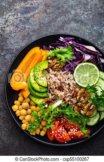 alface, prato, tomate, topo, tigela, pepino, buddha, vermelho, marrom, alimento., arroz, super, abacate, salada, pimenta, saudável, vegetariano, grão-de-bico, comer, repolho, fresco, walnuts., vista - csp55100267