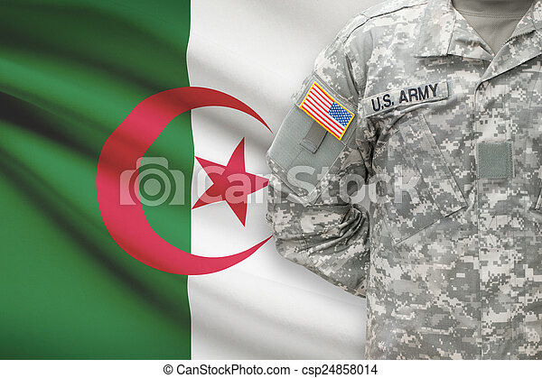 algéria, -, amerikai, katona, lobogó, háttér - csp24858014
