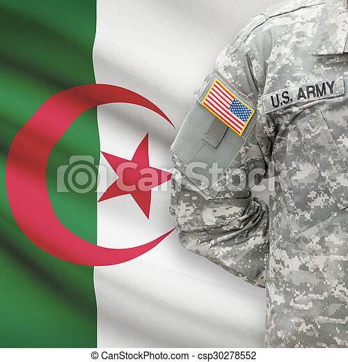 algéria, -, amerikai, katona, lobogó, háttér - csp30278552
