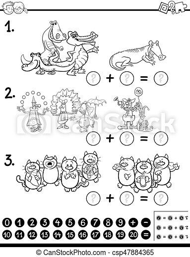 algebra activity coloring page - csp47884365