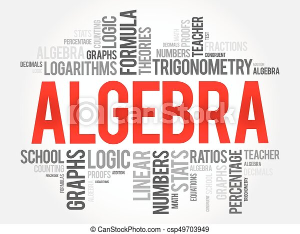 algebra word cloud collage education concept background