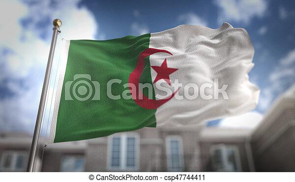 Algeria Flag 3D Rendering on Blue Sky Building Background - csp47744411