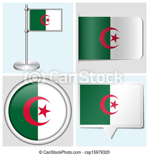 Algeria flag set of various sticker button label and flagstaff csp15979320