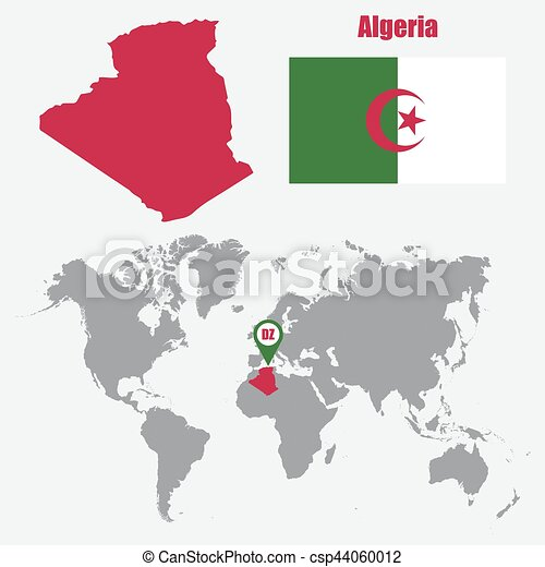 Algeria map on a world map with flag and map pointer. Vector illustration
