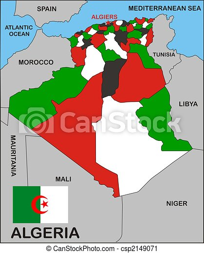 Algeria Political Map Political Map Of Algeria Country With - Political map of algeria