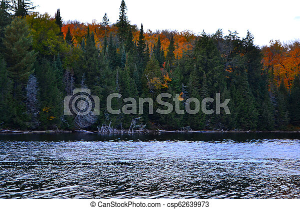 Algonquin Provincial Park, Ontario, Canada. Beautiful fall landscape with lake and mountains - csp62639973