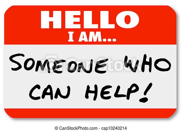 alguém, ajuda, nametag, lata, palavras, olá - csp10240214