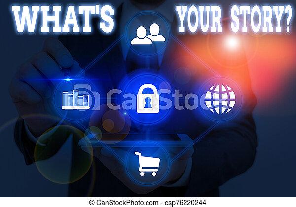 alguien, foto, actuación, sobre, showcasing, journey., historia, preguntado, su, nota, qué, escritura, ser, s, question., mi, empresa / negocio, poseer - csp76220244