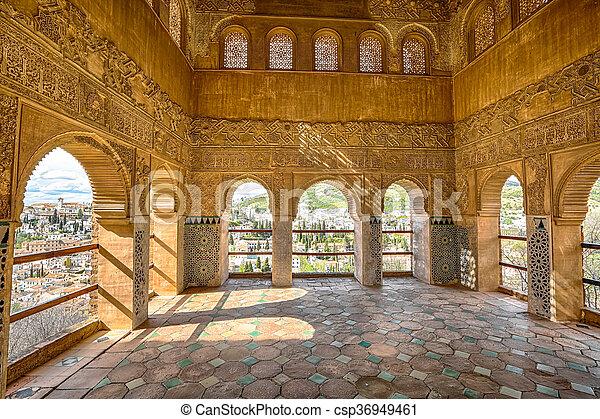 alhambra generalife granada archways in palacio de generalife at