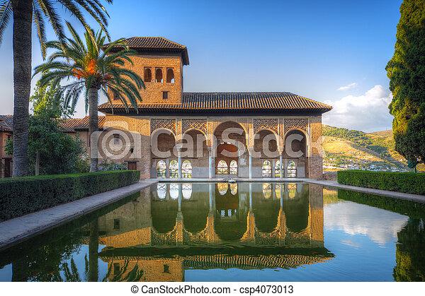 Alhambra patio with pool, Granada, Spain - csp4073013