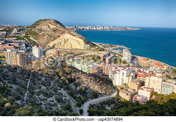 Alicante View from the Fortress of Santa Barbara - csp43074894