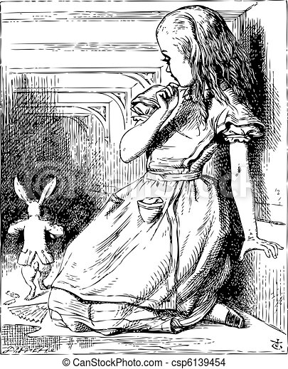 Alice in Wonderland. Alice grown big looking at the White Rabbit returning, splendidly dressed. Alice's Adventures in Wonderland. Illustration from John Tenniel, published in 1865. - csp6139454