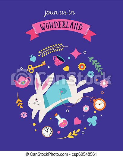 Alice in Wonderland banner, poster and card. We are mad here - csp60548561