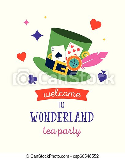 Alice in Wonderland banner, poster and card. We are mad here - csp60548552