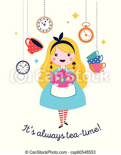 Alice in Wonderland banner, poster and card. We are mad here - csp60548553