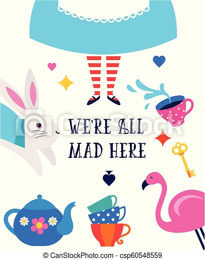Alice in Wonderland banner, poster and card. We are mad here - csp60548559