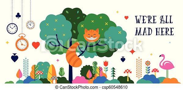 Alice in Wonderland banner, poster and card. We are mad here. Vector background - csp60548610