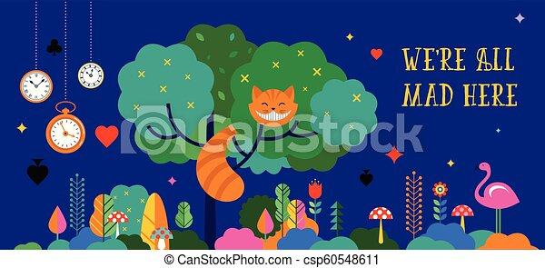 Alice in Wonderland banner, poster and card. We are mad here. Vector background - csp60548611