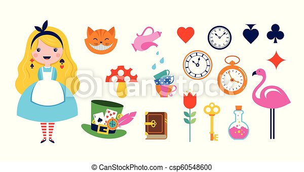 Alice in Wonderland banner, poster and card. We are mad here. Vector background - csp60548600
