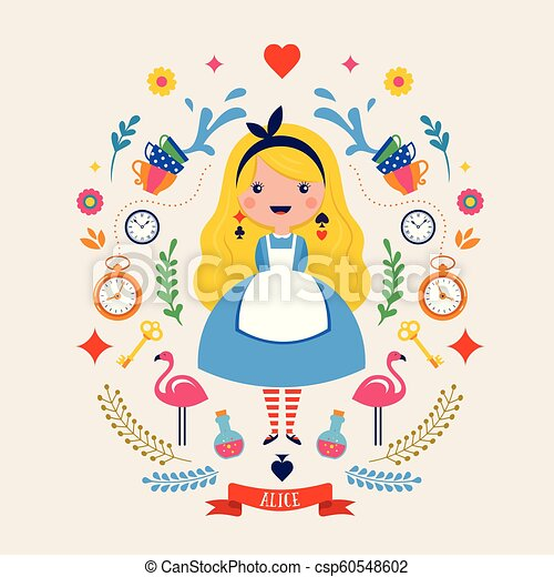 Alice in Wonderland banner, poster and card. We are mad here. Vector background - csp60548602