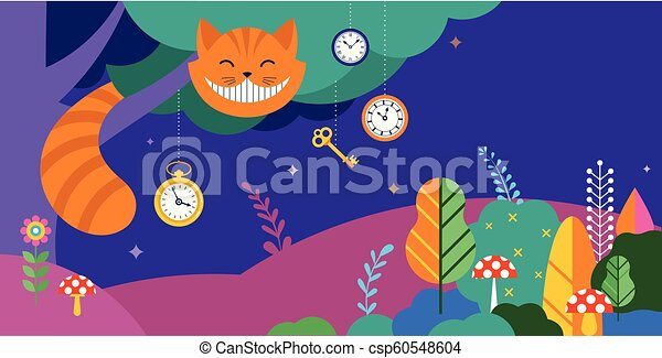 Alice in Wonderland banner, poster and card. We are mad here. Vector background - csp60548604