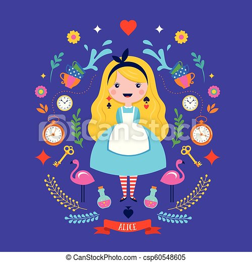 Alice in Wonderland banner, poster and card. We are mad here. Vector background - csp60548605