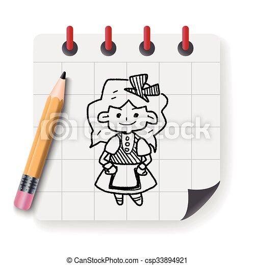 alice in wonderland doodle - csp33894921