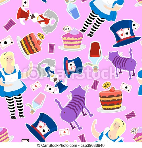 Alice in Wonderland pattern. Fat woman and Cheshire cat. Rabbit in hat. Cylinder is Mad Hatter. Magic Potion and piece of cake - csp39638940