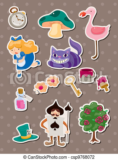 Alice in Wonderland stickers - csp9768072