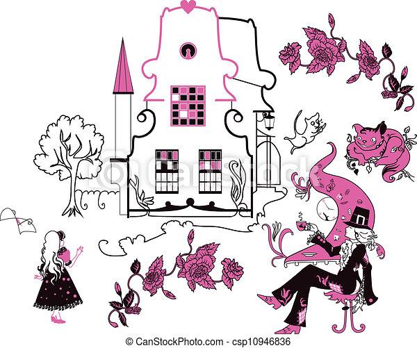 Alice in Wonderland vector illustration - csp10946836